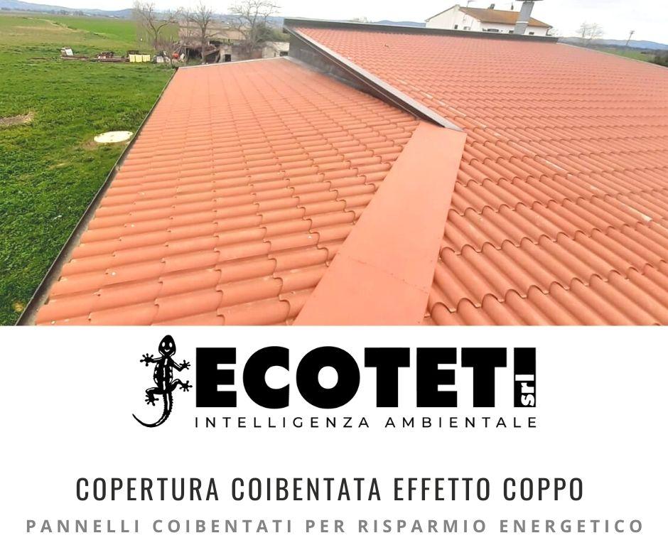 Copertura coibentata con effetto coppo, intervento rifacimento tetto con pannelli coibentati. Ecoteti srl, rifacimento tetti e coperture.