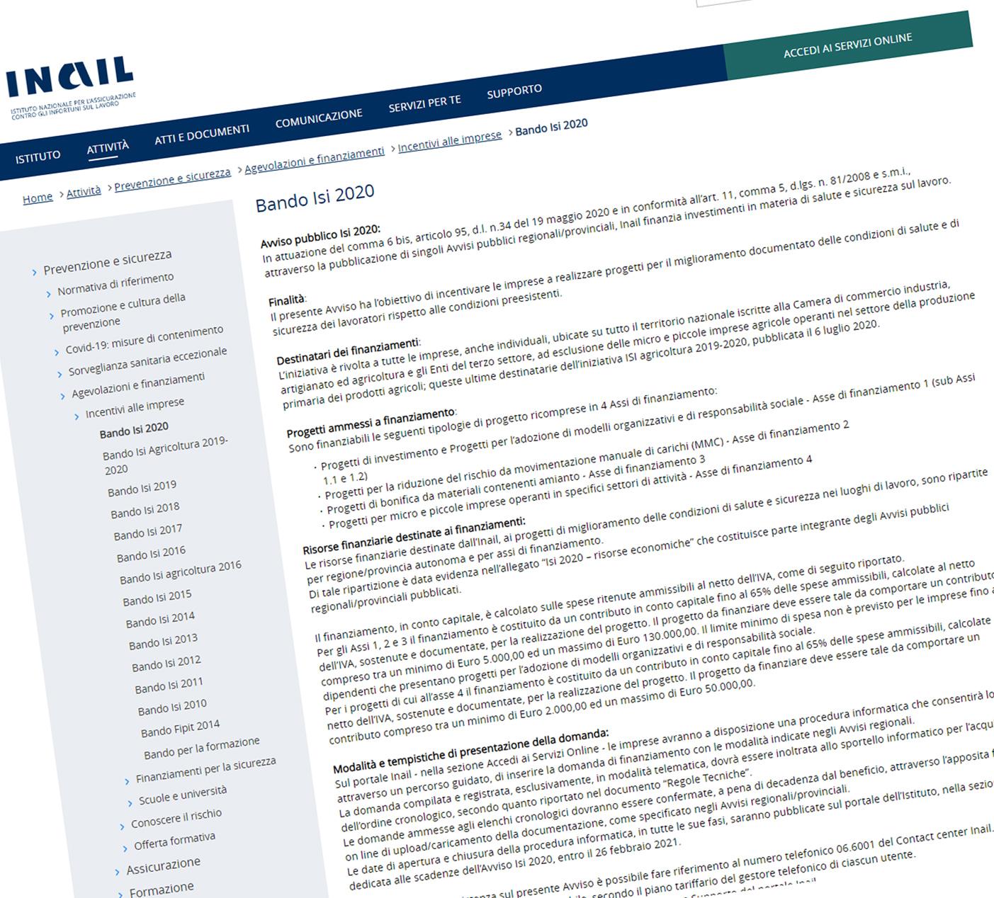 bando bando Incentivi rimozione amianto per aziende il bando ISI INAIL 2020 - Ecoteti srl