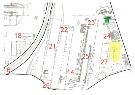 Lavori in quota. Zona oggetto dell'emergenza: Copertura deposito Vernici lato Area Rifiuti