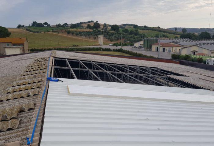 Bonifica copertura cemento-amianto e rifacimento del manto - Intervento di ECOTETI SRL PER CASEIFICIO MANCIANO